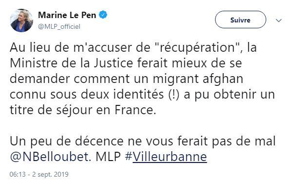 Twitter Marine Le Pen critique