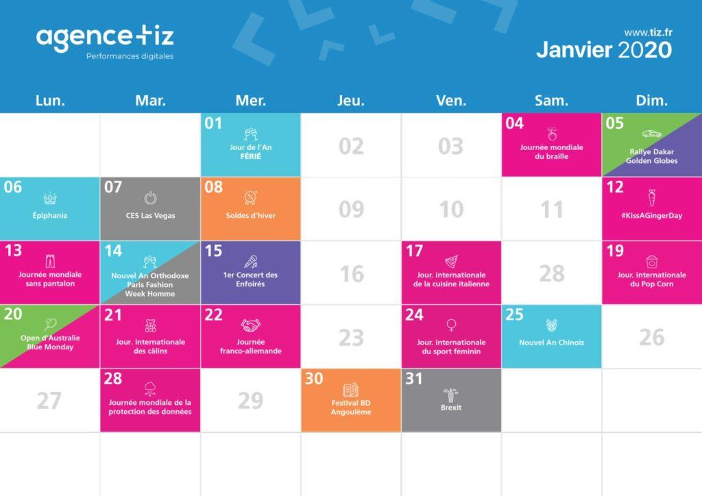 Exemple d'un calendrier saisonnier pour le mois de Janvier