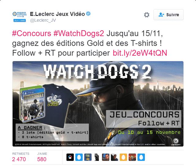 Exemple de jeu concours sur le Twitter de Leclerc pour sa communauté
