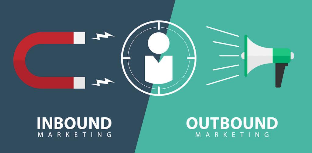 L'inbound va amener les clients vers notre marque, un aimant représente cette stratégie. Alors que l'outbound est représenté par un microphone pour décrire les campagnes de communication agressives menées traditionnellement.