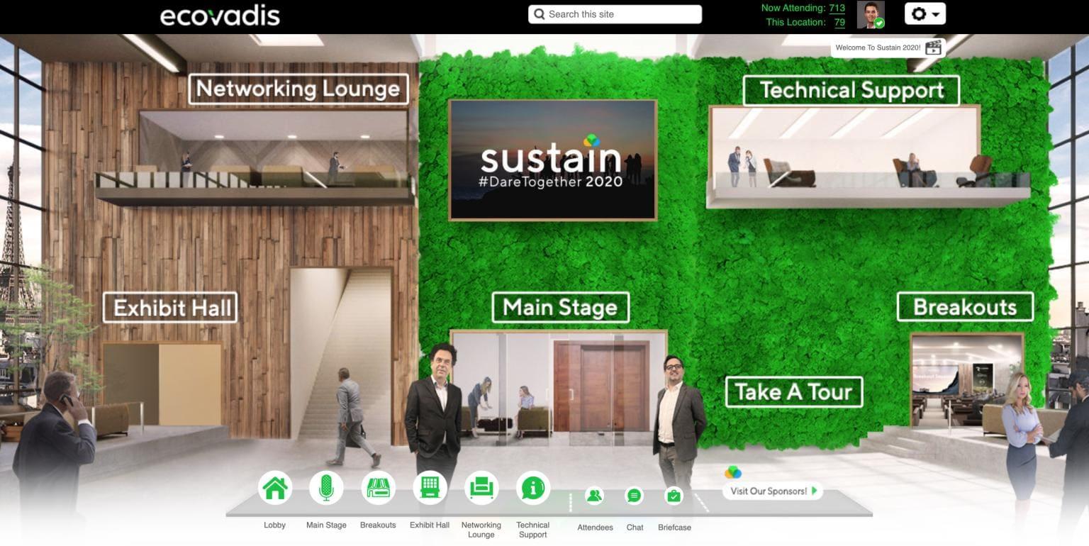 EcoVadis ouvre la voie aux professionnels de l'événementiel en recréant virtuellement son salon Sustain en 2020 : avatars, hall d'accueil, salle plénière, sponsors,...