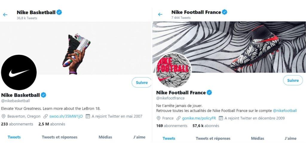 Capture d'écran Twitter de Nike Basketball et Nike Football France