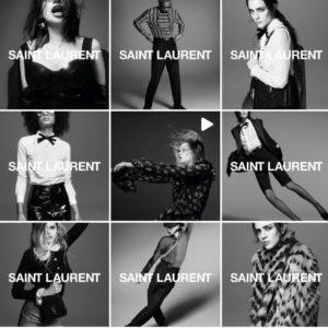 Capture d'écran du compte Instagram d'Yves Saint Laurent avec des publications en noir et blanc.