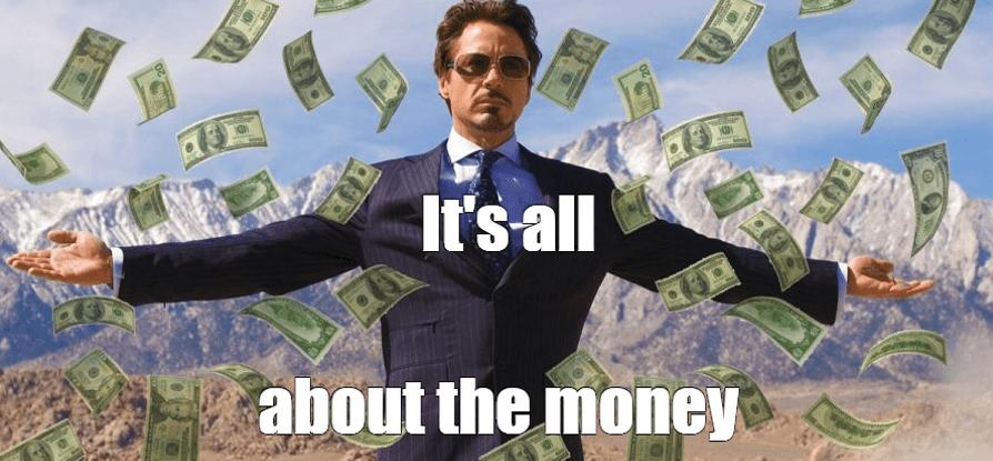 It's all about the money meme : Il pleut de l'argent - Memes dans la communication digitale