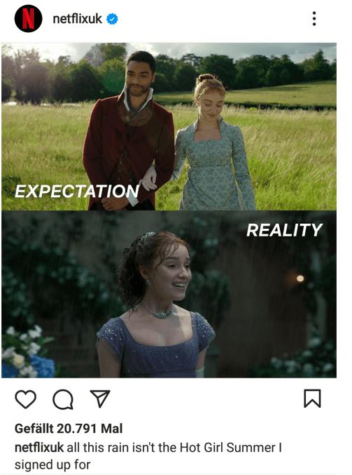 Meme du compte instagram de Netflix qui se base sur la série Bridgerton - Memes dans la communication digitale